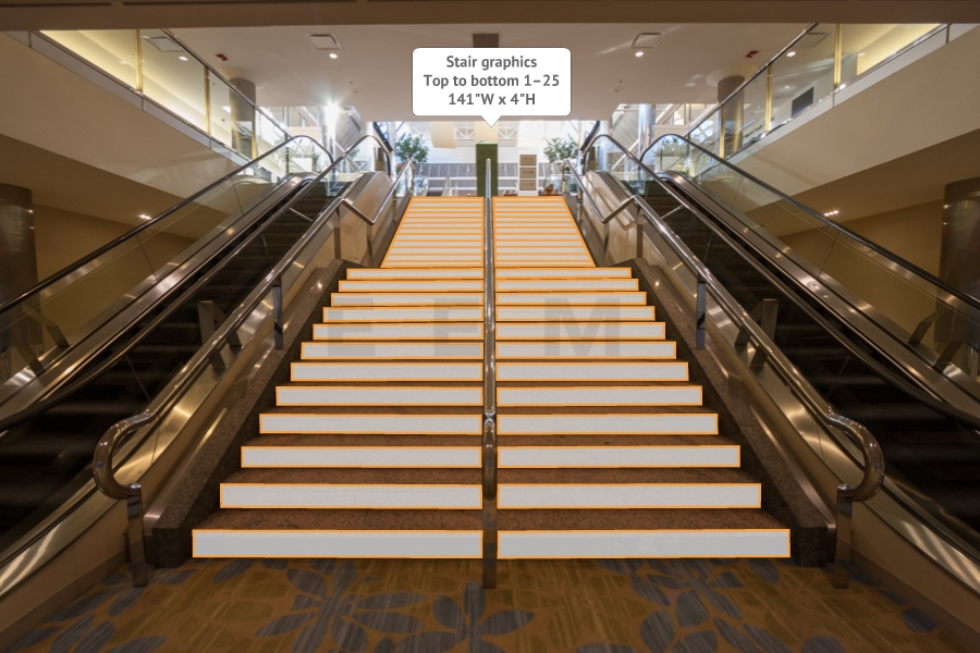 Harbor Level to Mezz level - Lower Stair Graphic - CC1-SC1