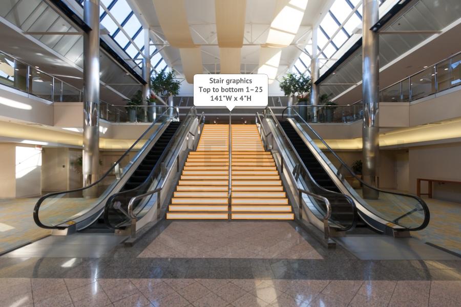 Mezz Level to Atrium Level - Upper Stair Graphic CC2-SC1