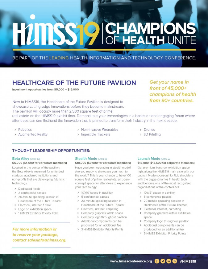 Healthcare of the Future Pavilion Opportunities